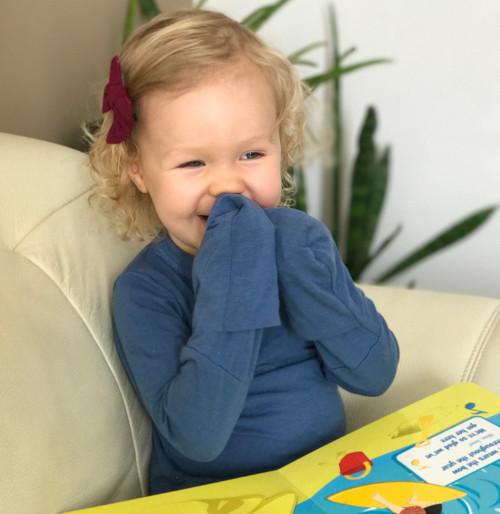 Bamboo Pajama Top - Flip Mitten Sleeve Closed - Midnight Blue