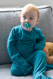 Comfy Bamboo Pajamas Soothe Eczema -  Midnight Blue - Secure Flippable Mittens - grows from toddler size through to older children