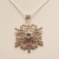 Large Blizzard Snowflake Pendant with Blue Topaz