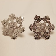 Glisten Snowflake 18K White Gold Earrings with Diamonds