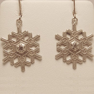 Blizzard Snowflake Earrings with Diamond on Euro Wire
