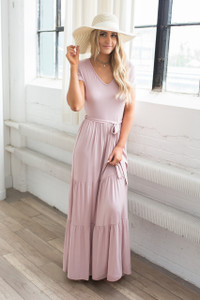 Short Sleeve Tiered Maxi Dress - Dusty Pink - FINAL SALE