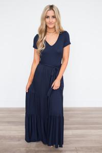 Short Sleeve Tiered Maxi Dress - Navy - FINAL SALE