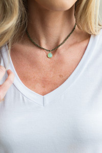 Multi Strand Pendant Choker - Olive/Mint - FINAL SALE