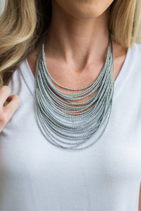 Layered Statement Necklace - Silver