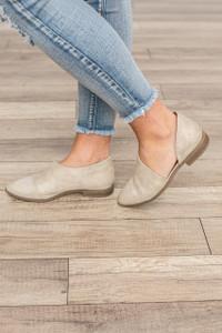 Ophelia Pointed Toe Flats - Stone