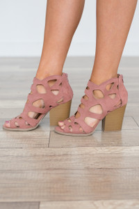 Cutout Zip Back Heels - Mauve