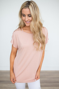 Cutout Short Sleeve Tunic - Dusty Rose