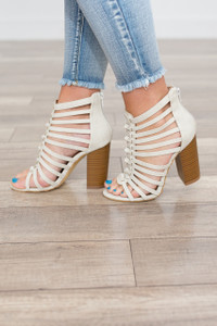Zip Back Caged Heels - White