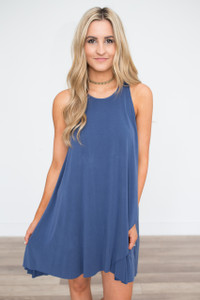 Tulip Front Tie Back Dress - Navy - FINAL SALE