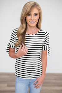 Tie Sleeve Striped Tee - Ivory/Black