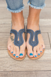 Poolside Die Cut Sandals - Denim Blue