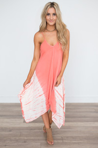 Tie Dye Handkerchief Dress - Coral