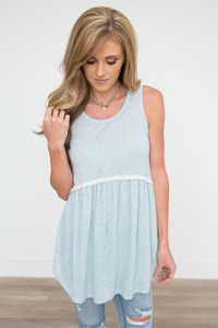 Ribbed Babydoll Tank - Heather Blue