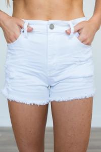 Destroyed Denim Shorts - White