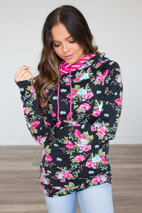 Ampersand Avenue Floral DoubleHood Sweatshirt - Black