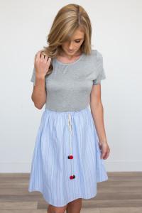 Pom Pom Elastic Waist Dress - Light Blue/Grey