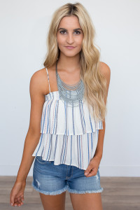 Layered Multi Stripe Top - Cream/Blue/Pink - FINAL SALE
