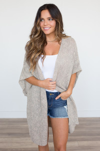 Half Sleeve Open Front Cardigan - Taupe