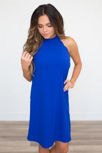Tie Back Scalloped Dress - Royal Blue