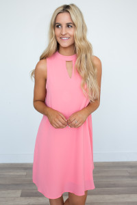 Sleeveless Keyhole Dress - Coral