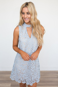 Lace Overlay Keyhole Dress - Baby Blue