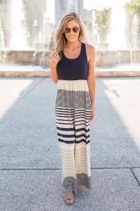 Striped Racerback Maxi Dress - Navy - FINAL SALE