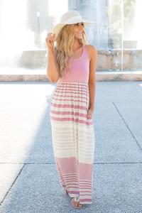 Striped Racerback Maxi Dress - Rose