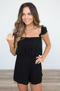 Button Down Ruffle Romper - Black - FINAL SALE