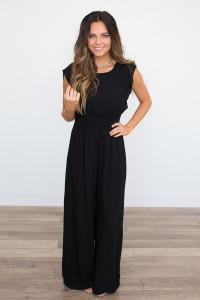 Open Back Ruffle Sleeve Jumpsuit - Black
