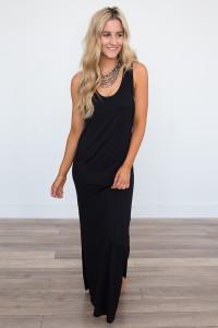 Pocket Front T-Shirt Maxi Dress - Black - FINAL SALE