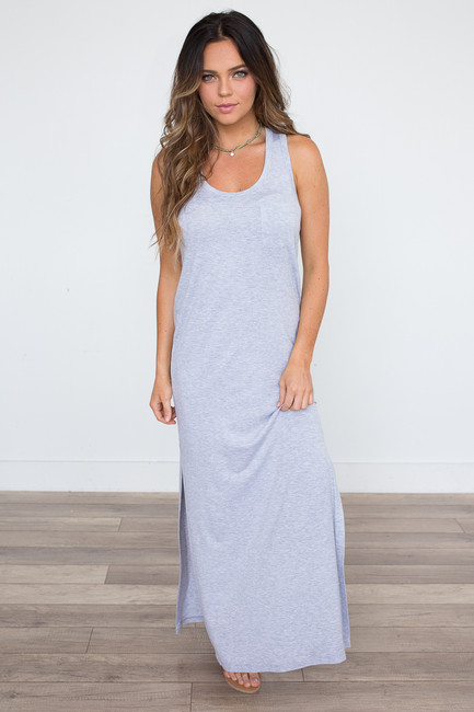 Pocket Front T-Shirt Maxi Dress - Heather Grey