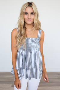 Striped Smock Top - Black/White