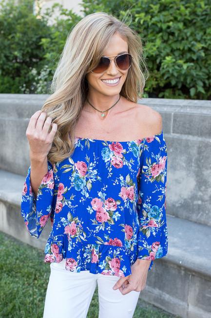 Floral Off The Shoulder Blouse - Royal Blue - FINAL SALE
