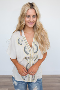 Embroidered Tie Back Blouse - Beige