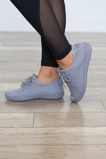 One Track Mind Sneakers - Grey - FINAL SALE