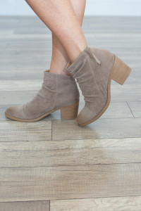 Side Zip Slouchy Bootie - Taupe - FINAL SALE