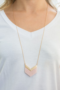 Chevron Pendant Necklace - Rose Quartz
