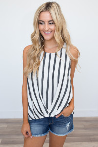 Striped High-Low Tank - Off White/Black