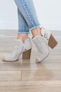 Perforated Peep Toe Bootie - Oatmeal