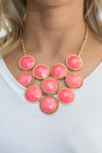 Circle Statement Necklace - Coral - FINAL SALE