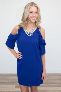 Ruffle Drop Shoulder Dress - Cobalt Blue