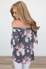 Floral Off The Shoulder Tunic - Heather Navy - FINAL SALE