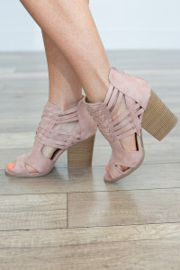 Caged Stacked Peep Toe Bootie - Blush