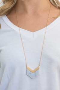 Chevron Pendant Necklace - Marble