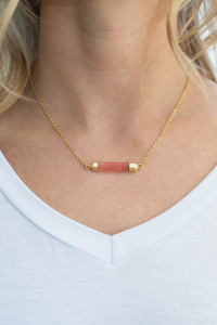 Natural Stone Bar Necklace - Coral