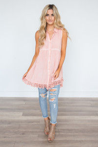 Button Down Sleeveless Tunic - Rose