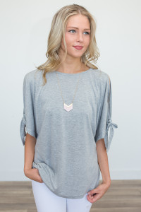 Peek A Boo Tie Sleeve Tunic - Heather Grey