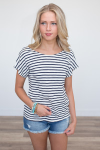 Open Back Striped Top - Navy/Ivory