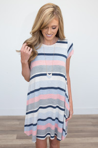 Striped Pocket Dress - Heather Grey/Blue/Pink